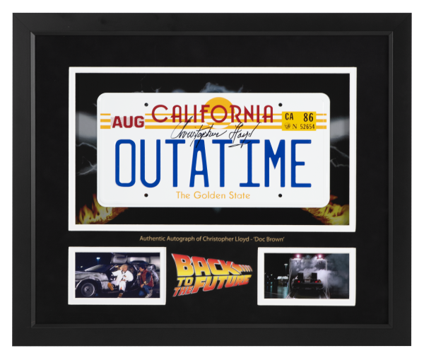 Christopher Lloyd signed OUTATIME Number plate | Back to the Future license