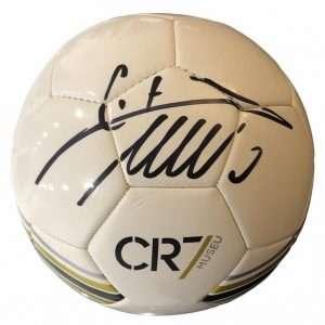 Cristiano Ronaldo Autograph football white museum authentic CR7