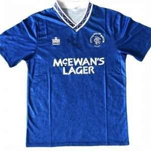 Mark Hateley autographed Admiral Rangers away Football shirt 90-92