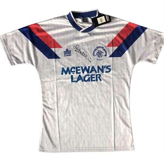 Mark Hateley signed Admiral Rangers away Football shirt 90-92