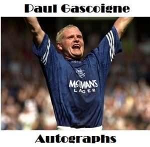 Paul Gascoigne autographs Gazza