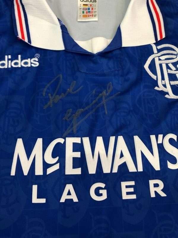 Paul Gascoigne signed shirt Rangers football club Champions League CLOSE