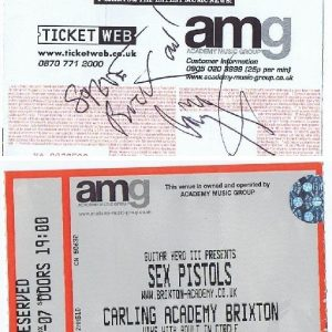 Jimmy Page autographed Concert ticket Sex Pistols 2007 | Led Zeppelin