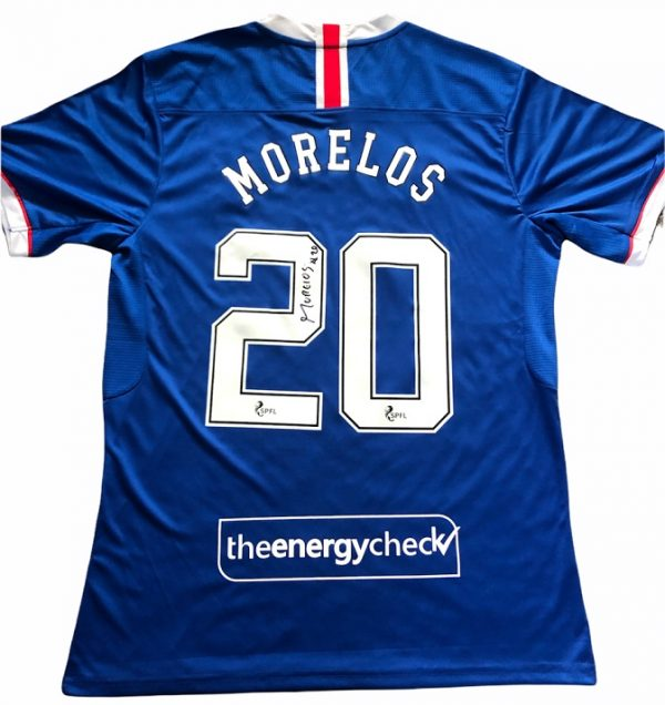 Alfredo Morelos signed Rangers FC Football shirt Genuine Autograph