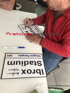 Andy Goram signed rangers street sign