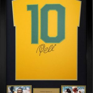 Pele signed Brazil Football Shirt on rear Number 10