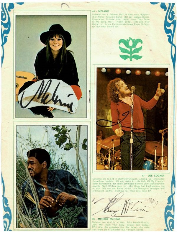 Pink Floyd Autographs for sale 1975 with Nazareth signed page