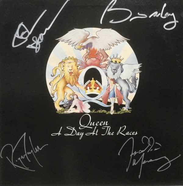 Authentic Queen Autograph A Day at the Races album with Freddie Mercury