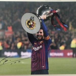 "Lionel Messi signed photo Barcelona FC 12x16"" Trophy"
