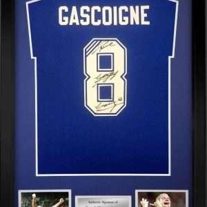 Paul Gascoigne Autographed Rangers #8 T-Shirt Framed