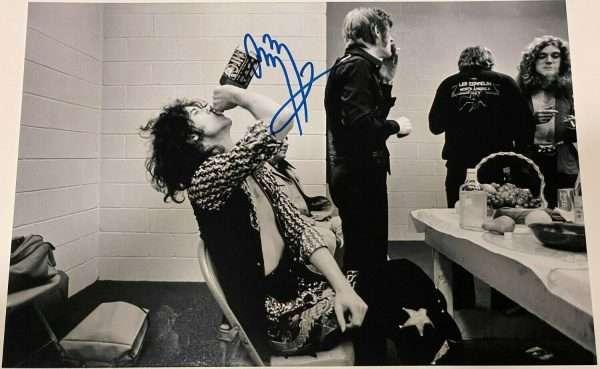 "Jimmy Page signed photo 12x8"" Led Zeppelin backstage Jack Daniels"