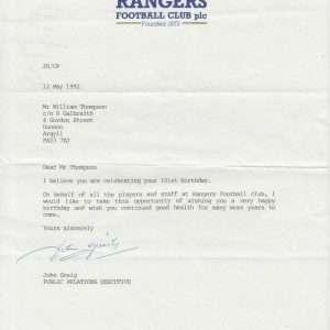 John Greig signed Rangers letter genuine autographed memorabilia