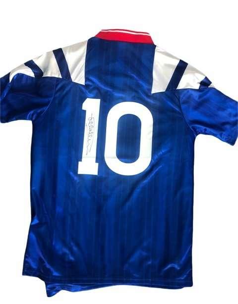 Mark Hateley hand signed Rangers 92-94 Replica retro shirt