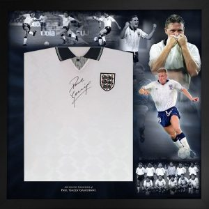 Paul Gazza Gascoigne Signed England 1990 Football shirt display