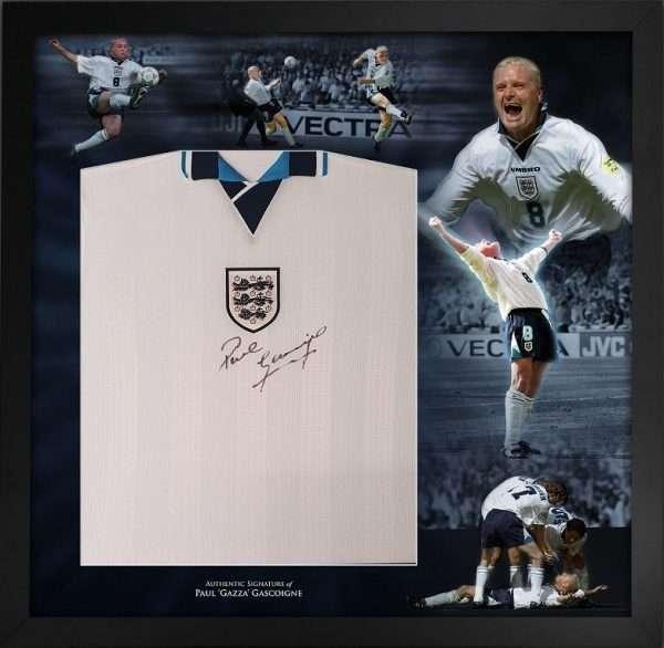 Paul Gascoigne Signed England 1996 Football shirt display