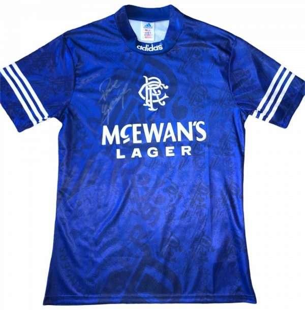 Paul Gascoigne signed 94 96 rangers shirt front