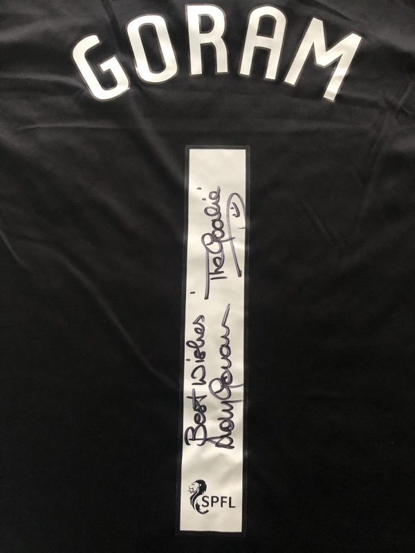Andy Goram signed #1 Rangers FC football shirt The Goalie