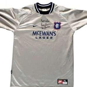 Andy Goram Signed 97 98 Goalkeepers shirt grey Glasgow Rangers