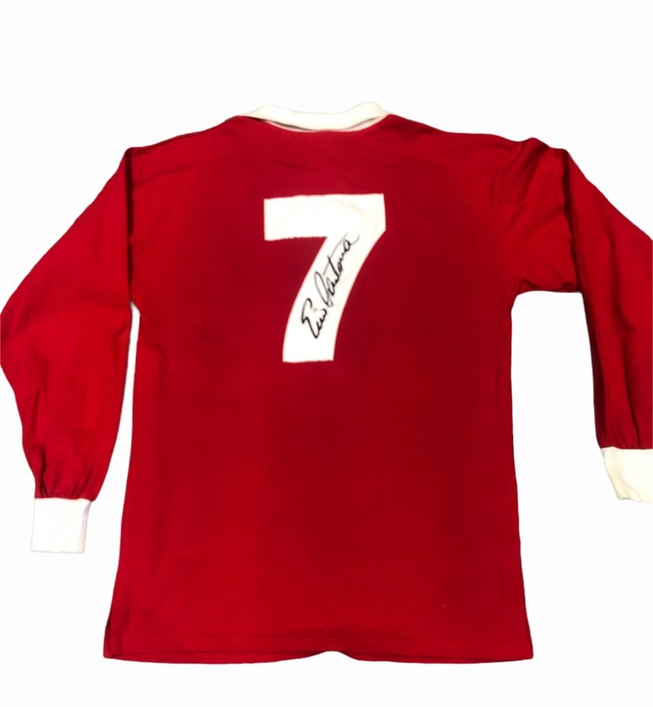 Eric Cantona signed Manchester United football shirt rear