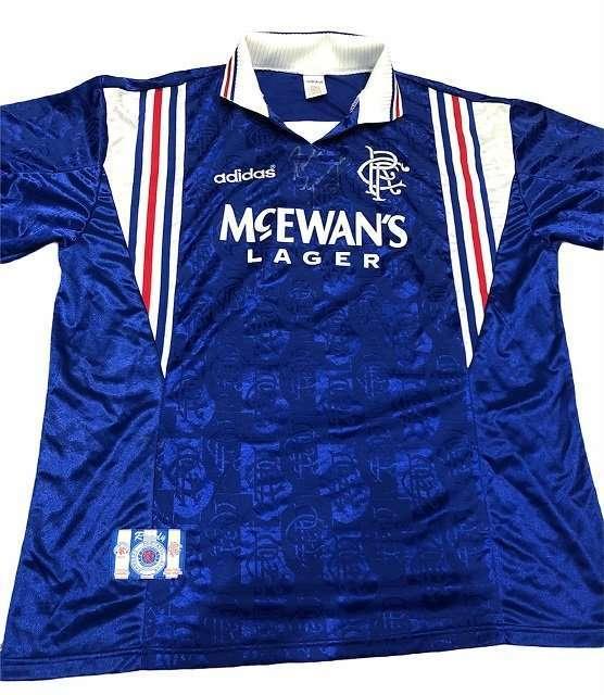 Paul Gazza Gascoigne signed 96-97 Original Rangers Football shirt