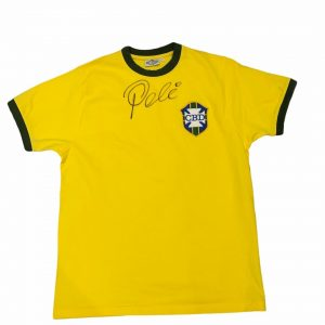 Pele autographed Brazil Football shirt signed on the front