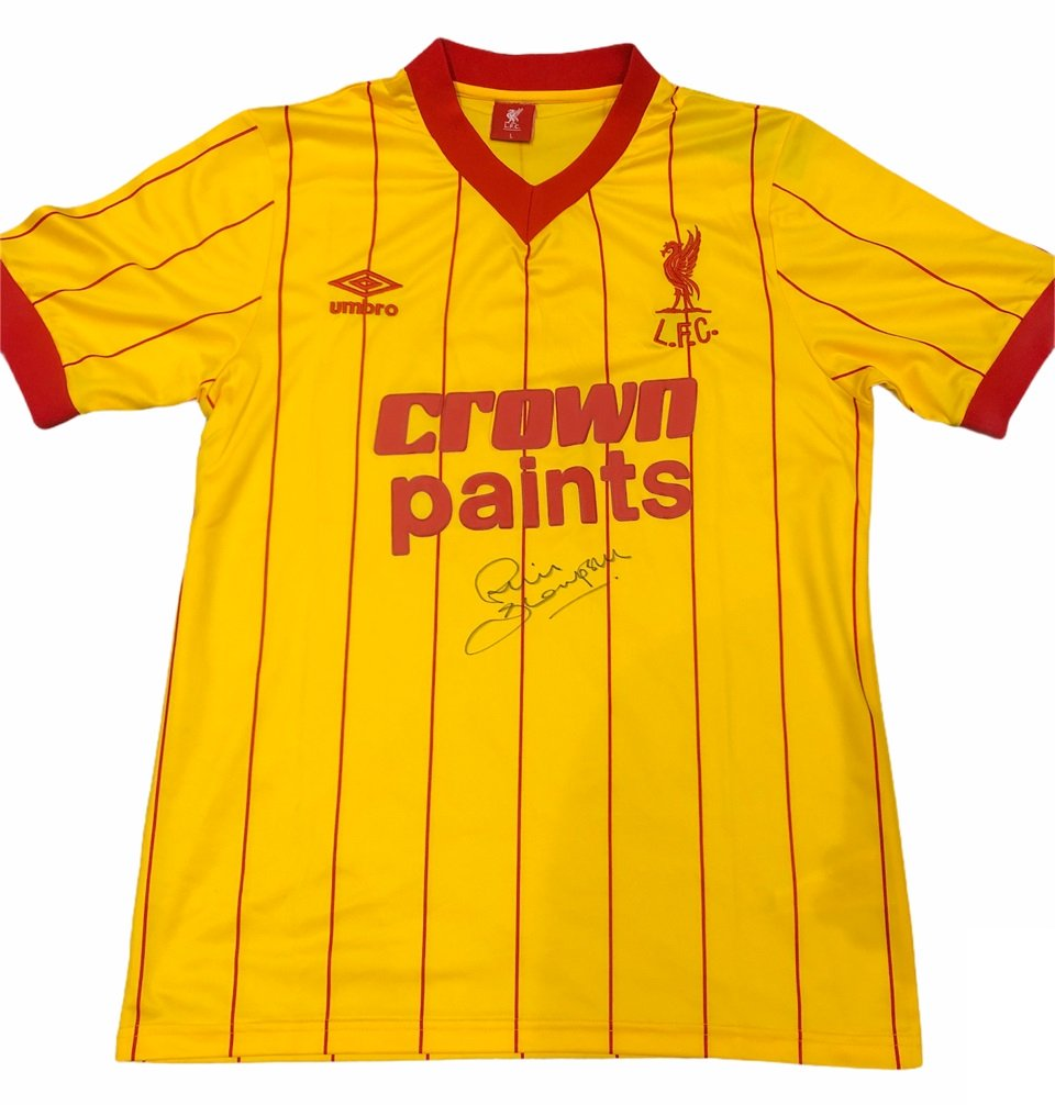 Phil Thompson autographed Liverpool 1982 away football