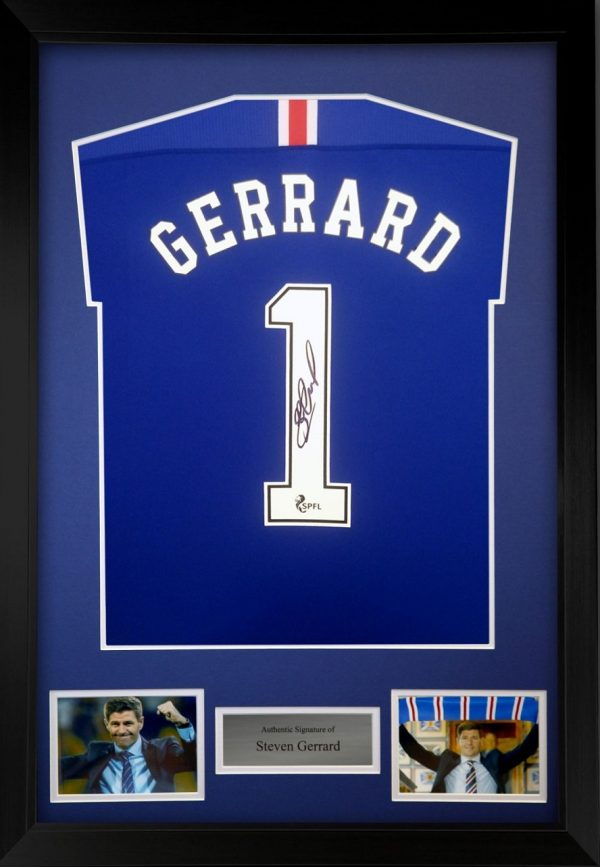 Steven Gerrard Autographed Rangers FC Football Shirt 20-21 season