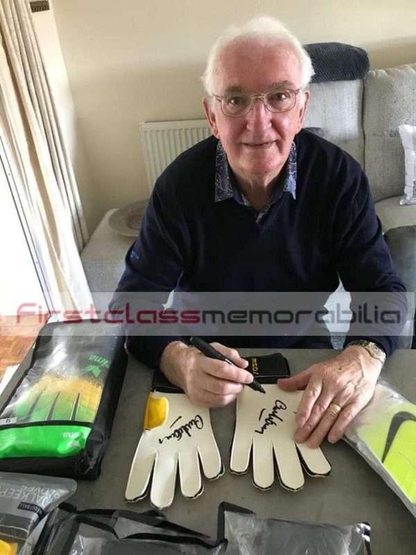 Alex Stepney signing goalkeeper gloves 2