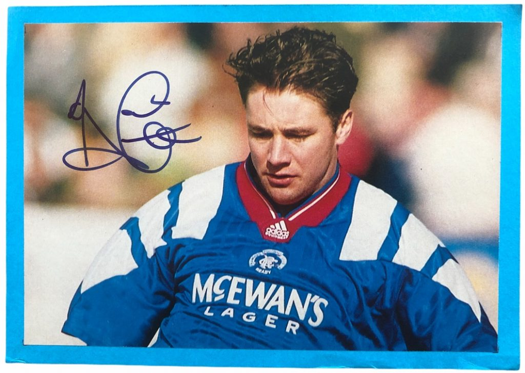 Ally McCoist signed photo Rangers FC magazine page