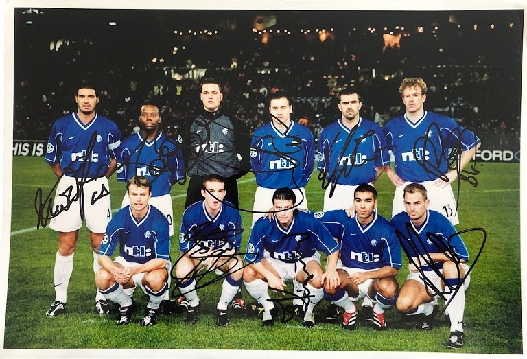 Glasgow Rangers squad signed photograph season 2000-2001