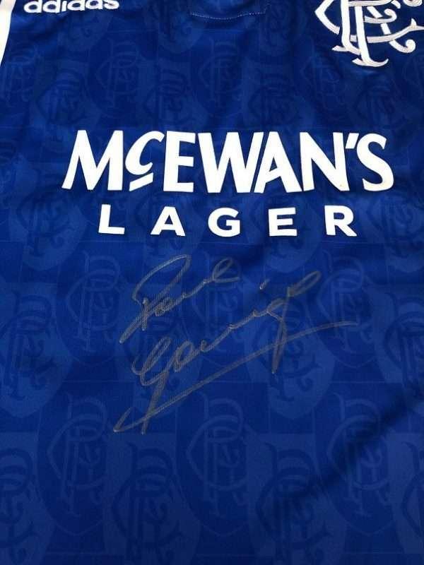 Paul Gascoigne Autographed shirt Rangers football club Champions League CLOSE