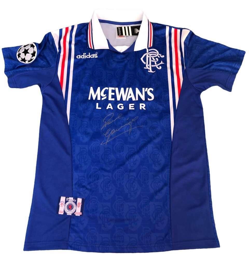 Paul Gascoigne Autographed shirt Rangers football club Champions League