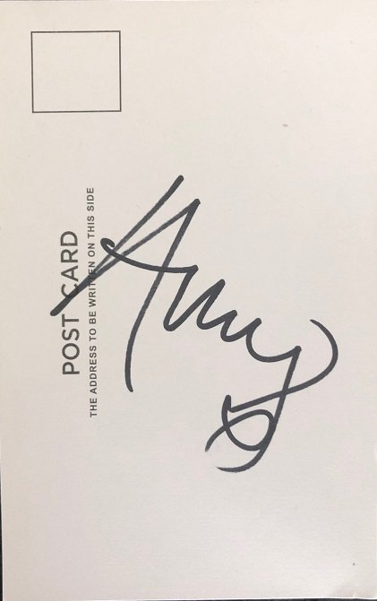 Amy Winehouse autographed post card signed authentic signature