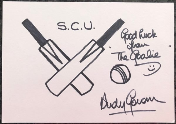 Andy Goram signed card Rangers FC Goalie and Cricket Scotland star