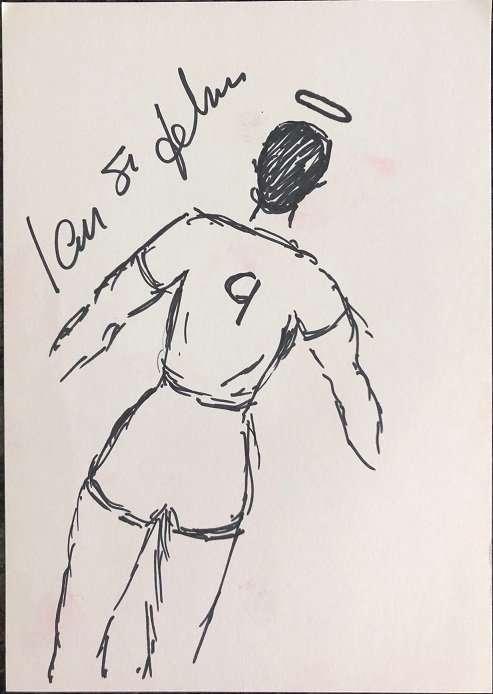Ian St John drawn signed self portrait Liverpool fc legend