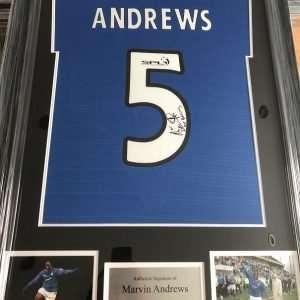 Marvin Andrews signed Framed Glasgow Rangers FC Football shirt