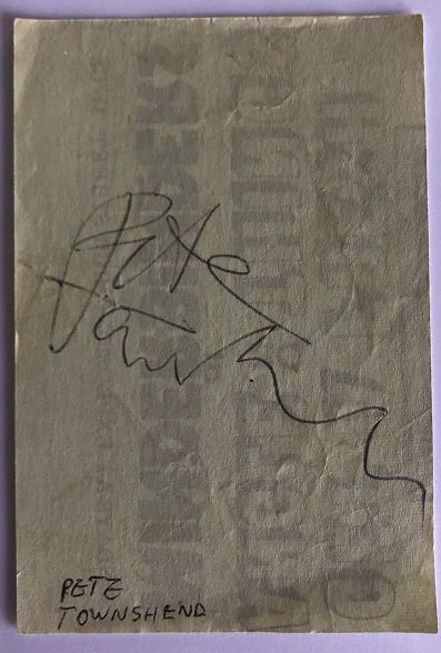 Pete Townshend Autograph The Who signed Legendary Guitarist