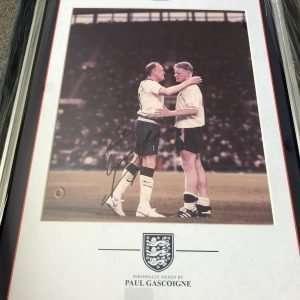 Paul Gascoigne signed Tottenham photo England star Mounted and framed
