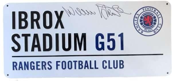 Willie Henderson signed Ibrox Street Sign Glasgow Rangers