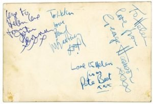 Beatles autographs from March 1963