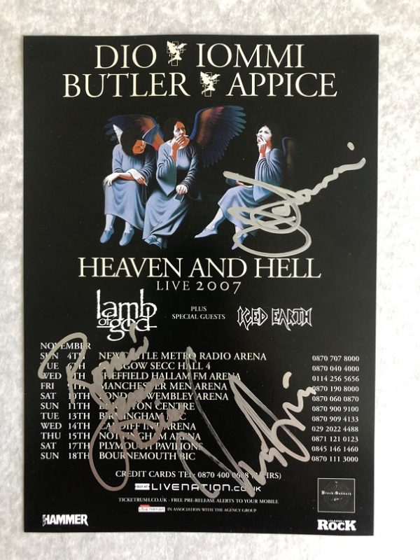 Heaven and Hell signed concert flyer Black Sabbath