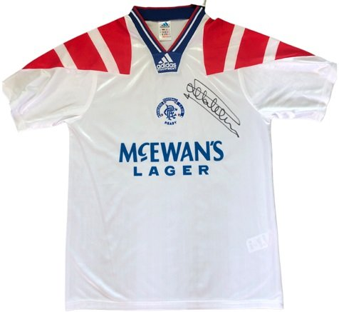 Mark Hateley Autographed Rangers away shirt 92-94 signed in person