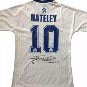 Mark Hateley signed #10 Admiral Rangers away Football shirt 90-92 [Rear]