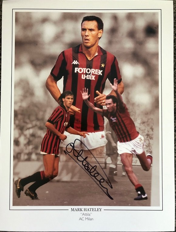 """Mark Hateley signed photo AC Milan 12x16"""" Montage Display"""