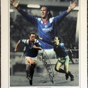 """Mark Hateley signed photo Rangers FC 12x16"""" Montage Display"""