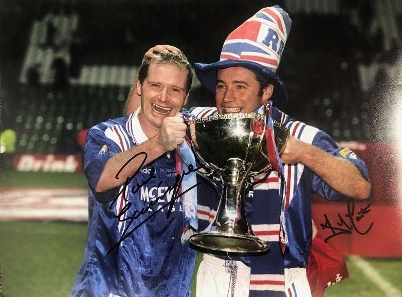 """Paul Gascoigne Ally McCoist signed Rangers FC photo 12x16"""""""