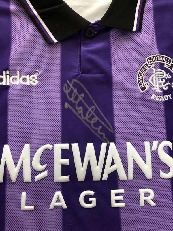 Mark Hateley Autographed 1994-1995 Rangers Euro Football shirt close