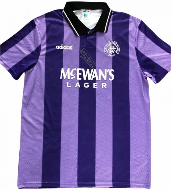 Mark Hateley Autographed 1994-1995 Rangers Euro Football shirt full