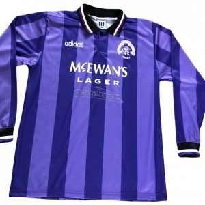 Mark Hateley Signed 1993-1994 Rangers Euro Football shirt (Long Sleeve)