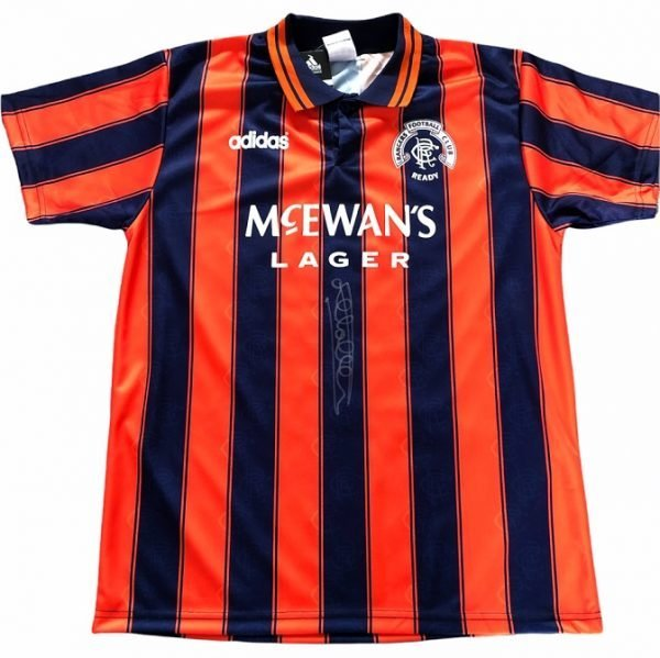 Mark Hateley autographed front signed Rangers away 93-94 1